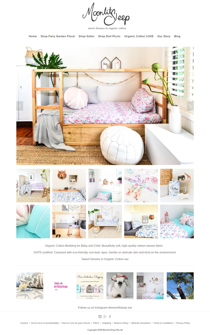 Moonlit Sleep's revamped site, styling & photography by TUBU
