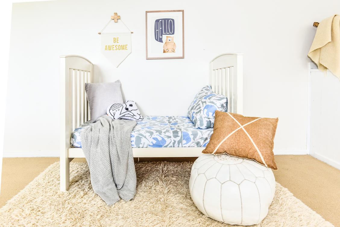 Moonlit Sleep organic Safari cot sheet, styling & photography by TUBU