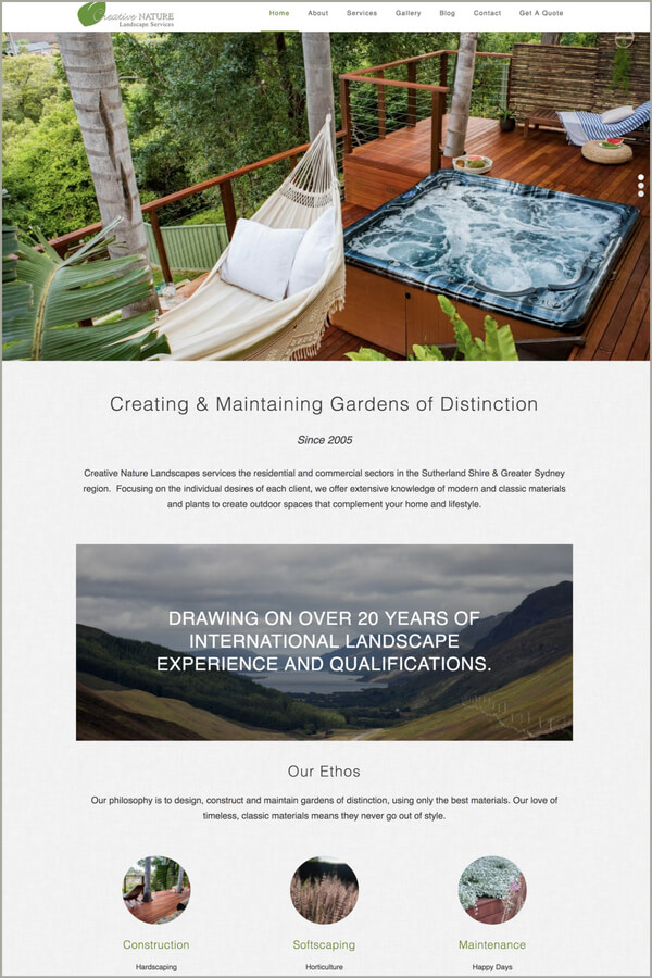 Creative Nature website, WordPress, Gutenberg