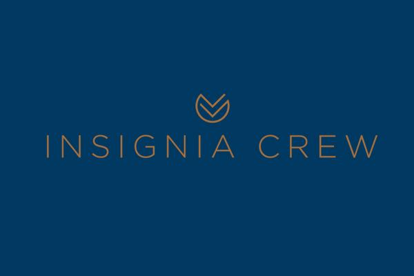 Insignia Crew logo design, blue